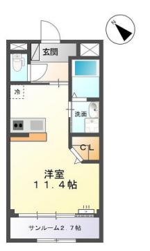 物件番号: 1110308494 シュメール  富山市婦中町上田島 1R アパート 間取り図