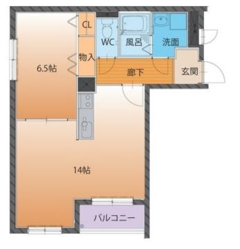 物件番号: 1110308503 ハートフルマンションシンシア  富山市西長江1丁目 1LDK マンション 間取り図