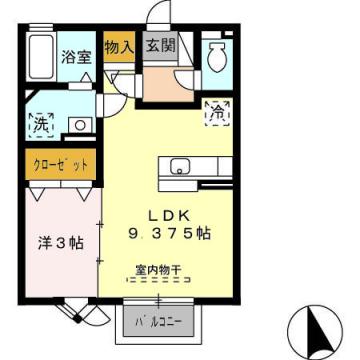 物件番号: 1110308504 アスターハイツ  富山市粟島町1丁目 1LDK アパート 間取り図