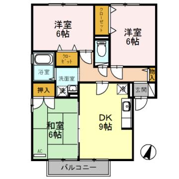 物件番号: 1110308511 ヴィルクレールA棟  富山市中川原 3DK アパート 間取り図