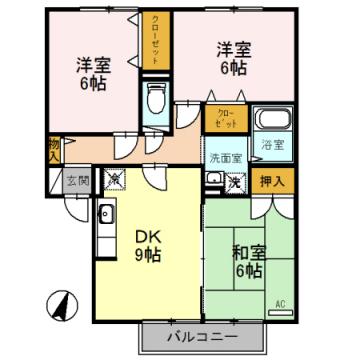 物件番号: 1110308512 ヴィルクレールA棟  富山市中川原 3DK アパート 間取り図