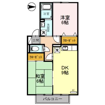 物件番号: 1110308514 ヴィルクレールB棟  富山市中川原 2DK アパート 間取り図
