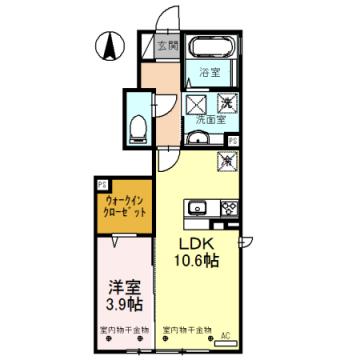 物件番号: 1110308515 Luck(ラック) A   富山市蜷川 1LDK アパート 間取り図