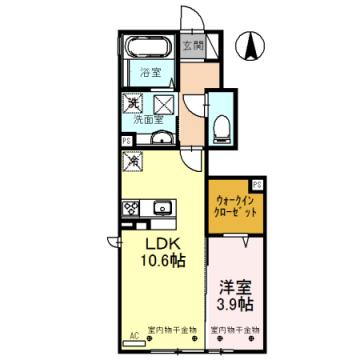 物件番号: 1110308518 D-room蜷川A  富山市蜷川 1LDK アパート 間取り図
