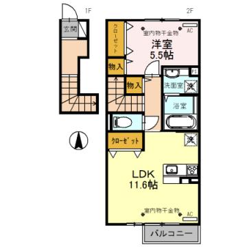物件番号: 1110308520 Luck(ラック) A   富山市蜷川 1LDK アパート 間取り図