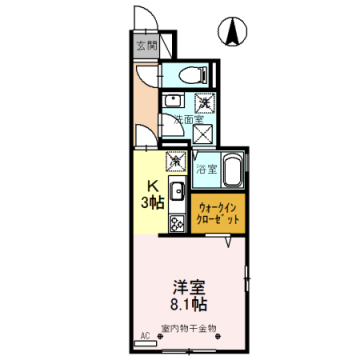 物件番号: 1110308522 D-room蜷川B  富山市蜷川 1R アパート 間取り図
