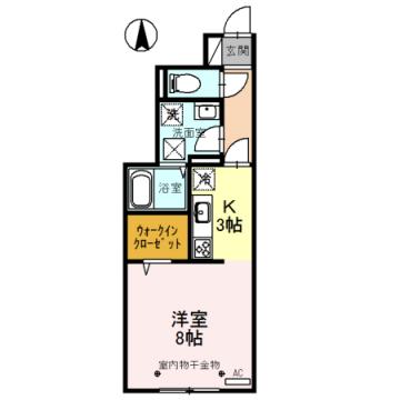 物件番号: 1110308524 D-room蜷川B  富山市蜷川 1R アパート 間取り図