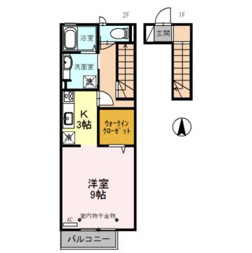 物件番号: 1110308531 Luck(ラック) B   富山市蜷川 1R アパート 間取り図