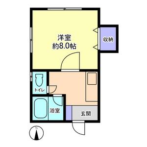 物件番号: 1110308538 信開セルーラ於保多P-2  富山市於保多町 1K アパート 間取り図