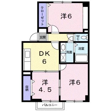物件番号: 1110308573 ウイステリアA  富山市開 3DK アパート 間取り図