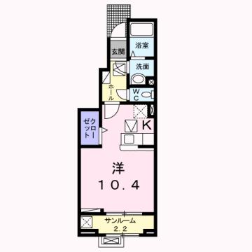 物件番号: 1110308578 エム・ケイ・ワン  富山市駒見 1K アパート 間取り図
