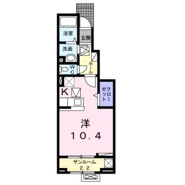 物件番号: 1110308579 エム・ケイ・ワン  富山市駒見 1K アパート 間取り図