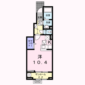 物件番号: 1110308580 エム・ケイ・ワン  富山市駒見 1K アパート 間取り図