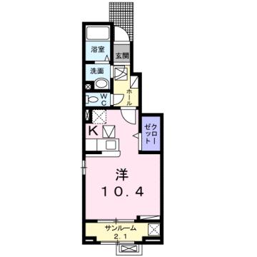 物件番号: 1110308582 エム・ケイ・ワン  富山市駒見 1K アパート 間取り図