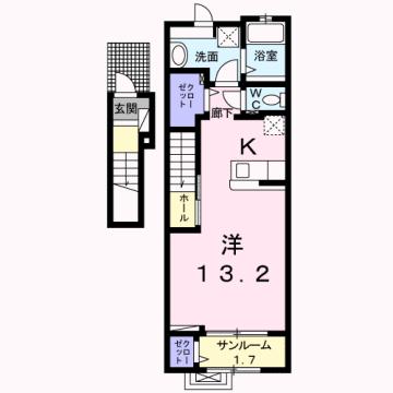 物件番号: 1110308584 エム・ケイ・ワン  富山市駒見 1K アパート 間取り図