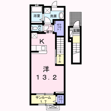 物件番号: 1110308585 エム・ケイ・ワン  富山市駒見 1K アパート 間取り図