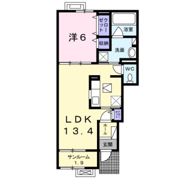 物件番号: 1110308602 サニーレジデンス雅  富山市東富山寿町1丁目 1LDK アパート 間取り図