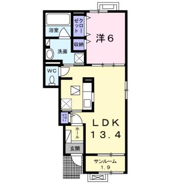 物件番号: 1110308615 ドゥ・ステージアⅥ  富山市東富山寿町1丁目 1LDK アパート 間取り図