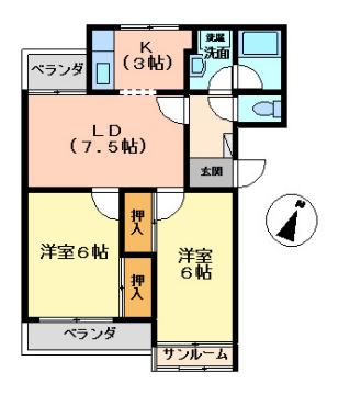 物件番号: 1110308642 コーポラス中川  富山市中市2丁目 2LDK マンション 間取り図