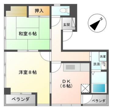 物件番号: 1110308644 ヒルズ呉羽  富山市追分茶屋 2DK アパート 間取り図