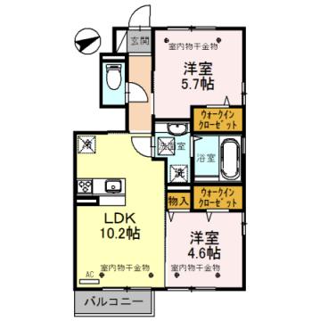 物件番号: 1110308662 D.Grase(ディ.グレイス)  富山市堀川町 2LDK アパート 間取り図