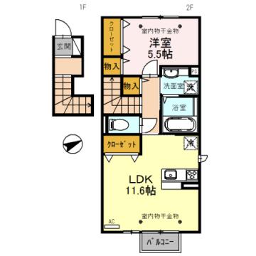 物件番号: 1110308670 D.Grase(ディ.グレイス)  富山市堀川町 1LDK アパート 間取り図