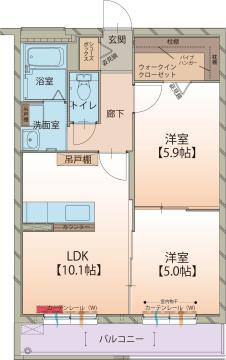 物件番号: 1110308688 ベル クゥオーレ  富山市上赤江1丁目 2LDK マンション 間取り図