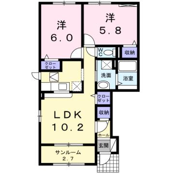 物件番号: 1110308716 サンシーロ  富山市常盤台 2LDK アパート 間取り図