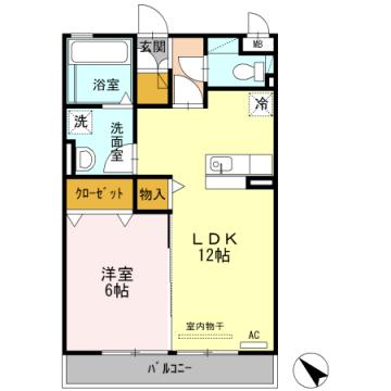 物件番号: 1110308737 ロータス富山  富山市牛島町 1LDK アパート 間取り図