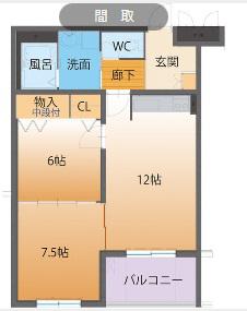 物件番号: 1110308744 ハートフルマンションTres  富山市上大久保 2LDK マンション 間取り図