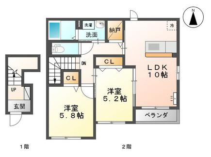 物件番号: 1110308752 フォーチュンルート  富山市婦中町袋 2LDK アパート 間取り図