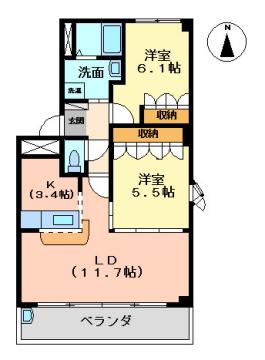 物件番号: 1110308753 サザンクロス(南十字星)  富山市才覚寺 2LDK アパート 間取り図