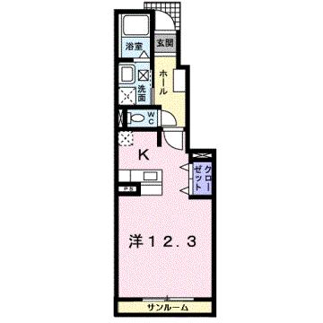 物件番号: 1110308755 サンテェラス  富山市豊若町3丁目 1K アパート 間取り図