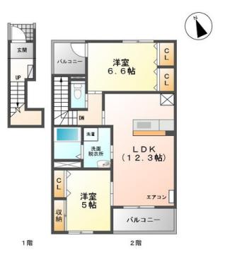 物件番号: 1110308784 ユニヴァリィサンサン  富山市秋吉 2LDK アパート 間取り図