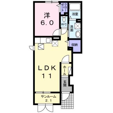 物件番号: 1110308786 グランMIKI 1  富山市清水町8丁目 1LDK アパート 間取り図
