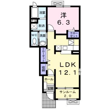 物件番号: 1110308789 シンパティコS Ⅱ  富山市桃井町2丁目 1LDK アパート 間取り図