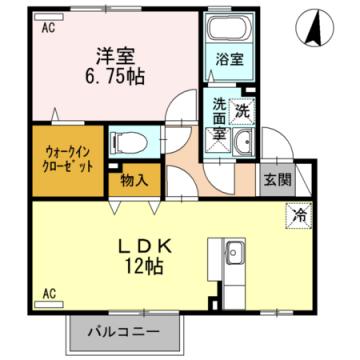 物件番号: 1110308832 ロミオ・グレースA  富山市中冨居新町 1LDK アパート 間取り図