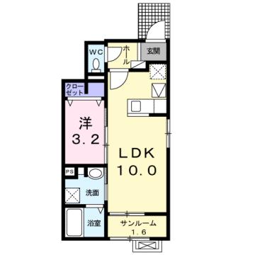 物件番号: 1110308858 アッピア  富山市八尾町福島6丁目 1LDK アパート 間取り図