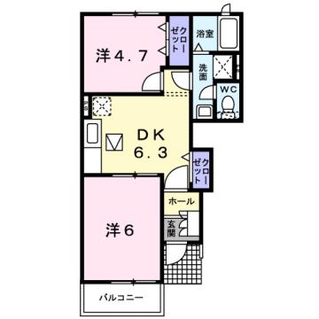 物件番号: 1110308875 プラートⅡ  富山市小原屋 2DK アパート 間取り図