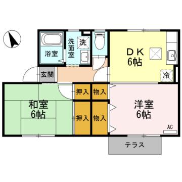 物件番号: 1110308911 ニューセジュールM  富山市下奥井1丁目 2DK アパート 間取り図