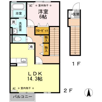 物件番号: 1110308914 フェリスさくらⅣ B  富山市黒崎 1LDK アパート 間取り図