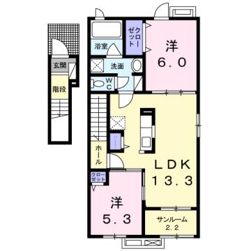 物件番号: 1110308930 グラン  富山市太田 2LDK アパート 間取り図