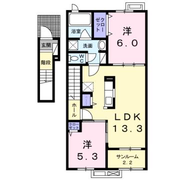 物件番号: 1110308932 グラン  富山市太田 2LDK アパート 間取り図