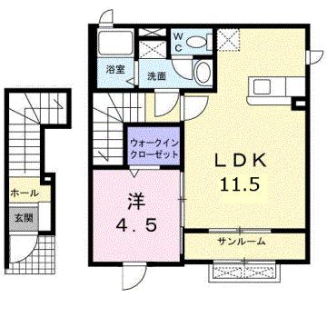 物件番号: 1110308935 ジェルメ ライムA  富山市黒瀬 1LDK アパート 間取り図