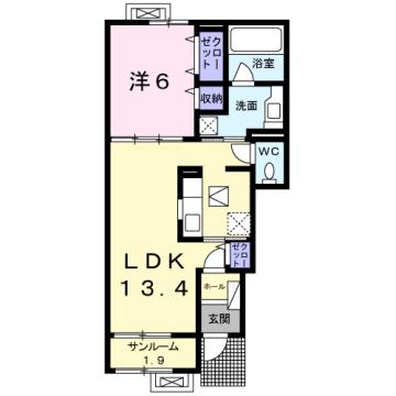 物件番号: 1110308941 フローラシオン森  富山市森1丁目 1LDK アパート 間取り図