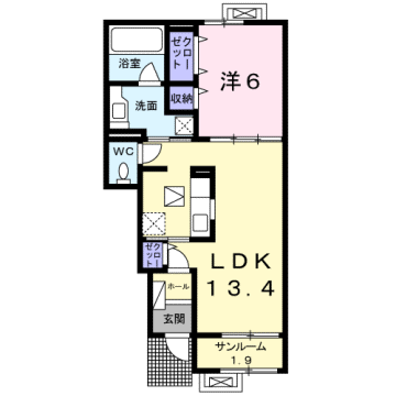 物件番号: 1110308942 フローラシオン森  富山市森1丁目 1LDK アパート 間取り図
