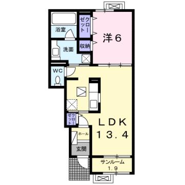 物件番号: 1110308943 フローラシオン森  富山市森1丁目 1LDK アパート 間取り図