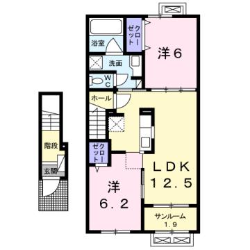 物件番号: 1110308949 フローラシオン森  富山市森1丁目 2LDK アパート 間取り図