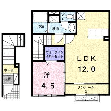物件番号: 1110308995 オルタ フルール  富山市中川原 1LDK アパート 間取り図