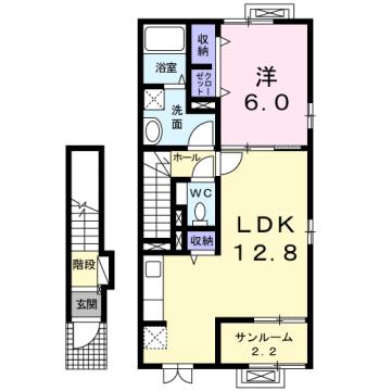 物件番号: 1110308998 カーサ オリージャ  富山市水橋肘崎 1LDK アパート 間取り図